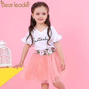Bear Leader Girls Clothing Sets 2018 New Brand Girls Clothes Petal Sleeve Letter T-shirt+Floral Voile Skirts 2Pcs Girls Dress