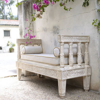 Isabella Collection - Outdoor Bench & Cushion Set - Horchow