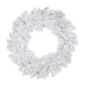 "30"" Pre-Lit White Artificial Christmas Wreath - Warm Clear LED Lights"