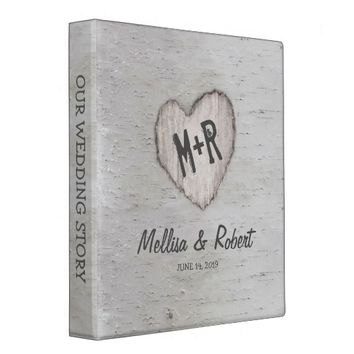 Rustic Silver Birch Tree Wedding Story Album Binder