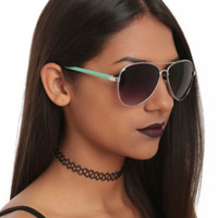 Mint Arm Aviator Sunglasses