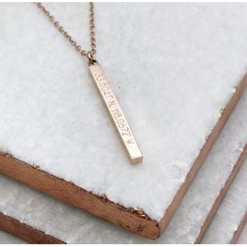 4 Sided 3D Coordinates Bar Necklace