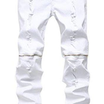 Men's White Zipper Ripped Distressed Destroyed Skinny Fit Jeans with Holes White 36