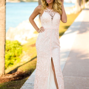 Pink Lace Maxi Dress with Front Slit