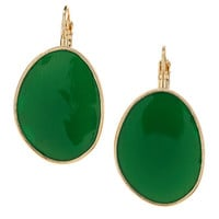 Flat Oval Hanging Earrings, Green