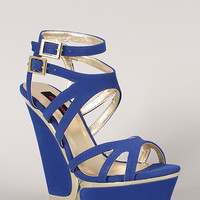 Dollhouse Cyclone Metallic Strappy Open Toe Platform Wedge