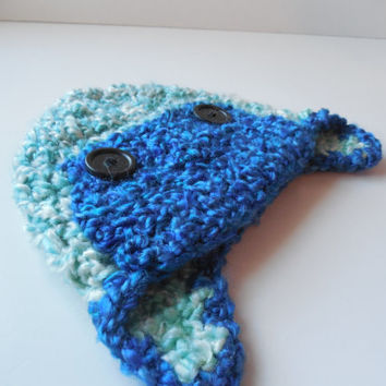 Baby Aviator Hat - Blues - Handmade Crochet - Reduced Price - Clearance - Ready to Ship