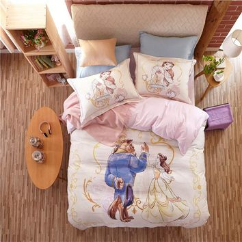 3D Beauty and the beast Bedding Sets Cartoon Comforter/Duvet Cover 3/4pc 100% Cotton Single Full Queen Size Girl Pink room Decor