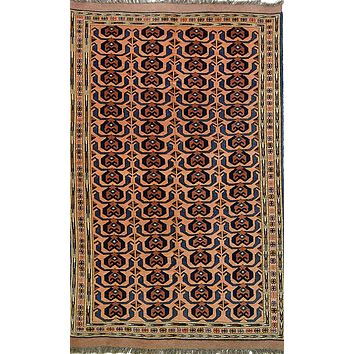 Oriental Turkman Tribal Wool Rug, Orange/Red