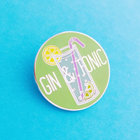 Gin and Tonic Enamel Pin Badge - Gin Badge - Lapel Pin, Tie Pin