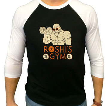 Train Insaiyan Roshi s Gym Dragon Ball Z Three Quarter Sleeve Raglan Shirt
