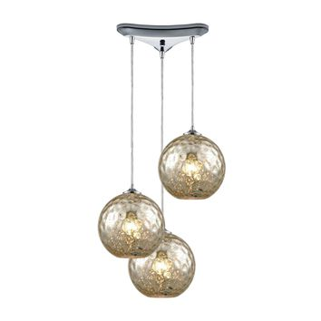 Watersphere 3 Light Triangle Pan Fixture In Polished Chrome With Mercury Hammered Glass