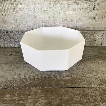 Planter Milk Glass Serving Bowl Ceramic Planter Octagon Shaped Succulent Planter Mid Century Terrarium Planter Ceramic Fruit Bowl Salad Bowl