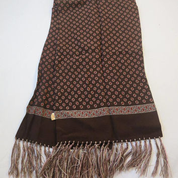 Opera Scarf Brown Rust Foulard Rayon Crepe w/ Silky Fringe 1940's Vintage Mens Neck Scarf 9 x 42 inches Self Lined Rockabilly Men Accessory