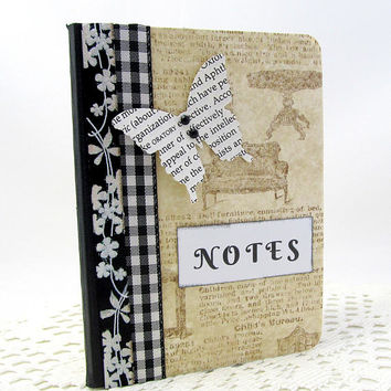 Butterfly Mini Journal - Altered Book Page Journal - Mini Notebook - Vintage Style - Altered Book - Small Journal - Pocket Journal
