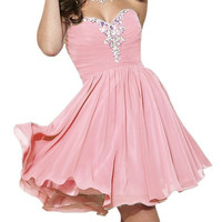 Homecoming Dress,Pink Chiffon Crystal Beadings Strapless Short Prom Dress