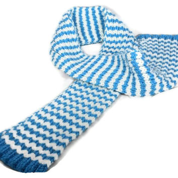 Hand Knitted Super Bulky Blue and White Stripped Scarf