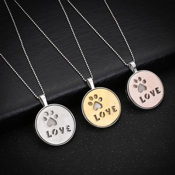 Silver orGold Tone Love Lettered Pet Footprint Glow in the Dark Pendant Necklace