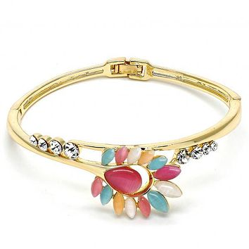Gold Layered Individual Bangle, Teardrop and Leaf Design, with Opal and Crystal, Gold Tone