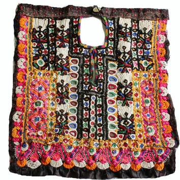 Indian Vintage Neck Yoke Embroidery  And Mirror Work Handmade Applique Patch Sewing craft, cotton fabric neck yoke.
