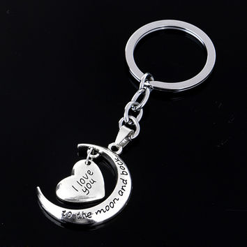 s I Love You To The Moon   Back Keychain Key Ring Jewelry Moon   Heart Key Chains Gifts For Women SM6