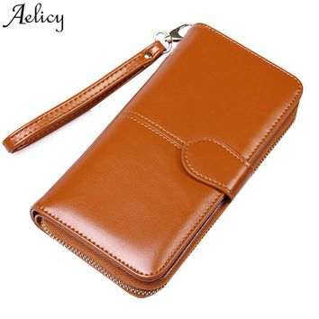 Aelicy 2018 New Fashion Women Wallets Nubuck Leather Zipper Wallet Women's Long Design Purse Two Fold Credit Cards Holder Pocket