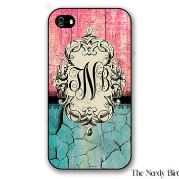 Personalized iPhone 4, 5, 5c and 6 and Galaxy s3, s4 and s5 - vintage pink and blue distressed wood Monogram