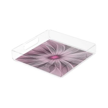 Pink Flower Waiting For A Bee Abstract Fractal Art Serving Tray