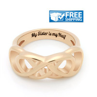 "Sister Gift - Infinity Symbol Promise Sister Ring, Engraved on Inside with ""My Sister is My Half"", Sizes 6 to 9"