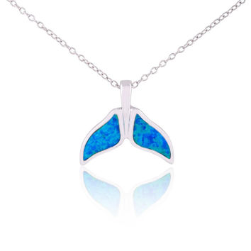 """Sterling Silver Blue Opal Whale Tail Pendant Necklace, 18"""""""