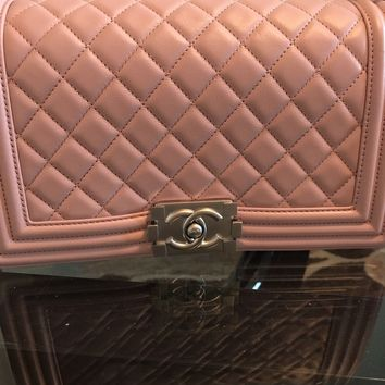 Authentic CHANEL Medium lambskin Boy Bag Light Pink with silver closure