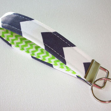 Key FOB / KeyChain / Wristlet key strap  - Navy Chevron zig zag with lime green  - gift for her under 10