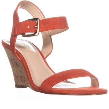 Nine West Kiani Cork Wedge Sandals, Red Orange Suede, 6.5 US
