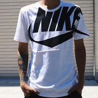 NIKE ATOMS limited edition large logo big hook advocating streamlined fashion short sleeves F-CY-MN White