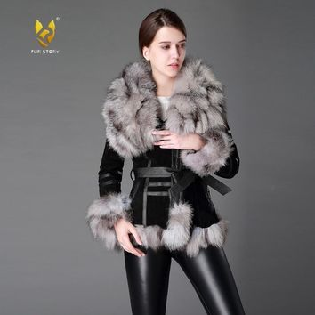 Fur Story 13055 Women's Coats Genuine Leather Coat Fox Fur Collar Trim Sleeve Cuff 5XL Plus Size Natural Fur Jackets Women
