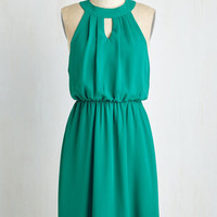 Mid-length Sleeveless A-line City Sway Dress in Emerald by ModCloth