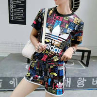 """Adidas"" Fashion Casual Multicolor Pattern Clover Letter Print Short Sleeve Set Two-Piece Sportswear"