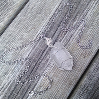 Quartz Crystal Necklace,Crystal Pendant, Gypsy Necklace, Wiccan Pagan Jewelry, Shaman Necklace, Healing Crystals