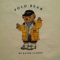 Vintage Ralph Lauren Polo Teddy Bear in Yellow Jacket Pillow Topper Fabric