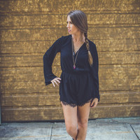 Little Lace Romper in Black