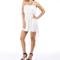 Ivory Hi Lo Strapless Dress