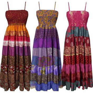 Mogul Womens Maxi Dress Recycled Vintage Sari Patchwork Printed Sundress Wholesale Lot Of 3 Pcs - Walmart.com