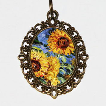 Monet Sunflower Necklace, Claude Monet, Sunflower Jewelry, Sunflowers, Oval Pendant