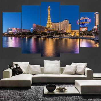 Canvas Wall Art: Las Vegas USA Paris Hotel Wall Art on Canvas 5-Panel