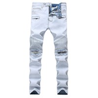 Zippers Decoration Men's Fashion Ripped Holes Men Stretch Jeans [127702761501]