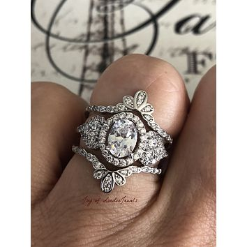 The Tombly, A Perfect 3.5TCW Russian Lab Diamond Stackable Wedding Band Ring Set