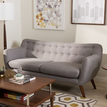 Baxton Studio Harper Mid-Century Modern Light Grey Fabric Upholstered Walnut Wood Button-Tufted 3-Seater Sofa Set of 1