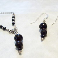 Necklace Earrings Set Sterling Silver and Black Onyx  Magic Jewelry