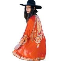 Womens Open Front Loose Kimono Beach Cover-up Casual Summer Boho Floral Print Long Cardigan Tops Outwear