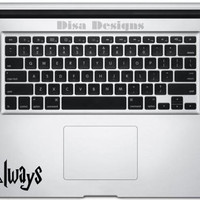 """Harry Potter inspired Deathly Hallows / """"Always"""" vinyl decal - Trackpad decal - Macbook decal - Harry Potter decal - Deathly Hallows decal"""